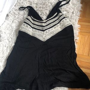 Black Romper with embroidered detail